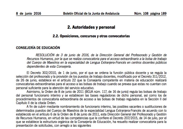 Publicada la resolución definitiva de la bolsa extraordinaria de francés del Cuerpo de Maestros