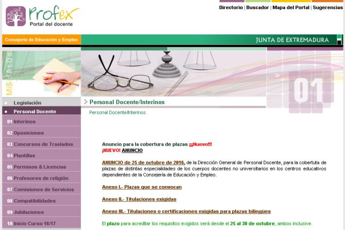 bolsa de trabajo para profesores de Secundaria, Formación Profesional y Escuelas Oficiales de Idiomas en Extremadura