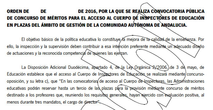 Borrador de la Orden de Oposiciones de Inspección 2016