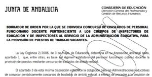 Borrador de la Orden del concurso de traslados para inspectores de educación