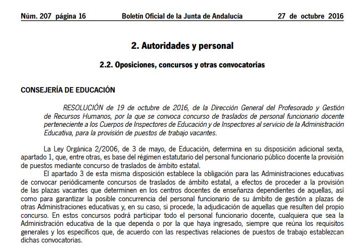 Concurso De Traslados De Inspectores De Educaci N