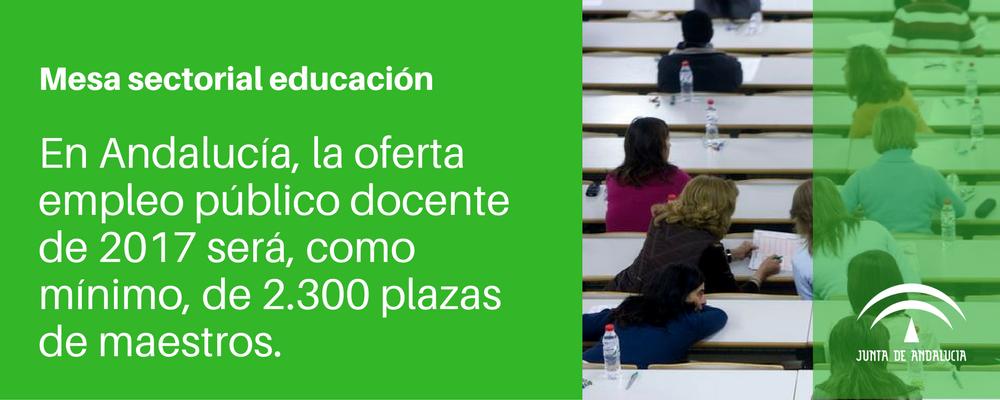 Andaluc a la mesa sectorial informa sobre la oferta de for Plazas de docentes 2016