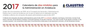 Calendario 2017 de días inhábiles para la Administración en Andalucía