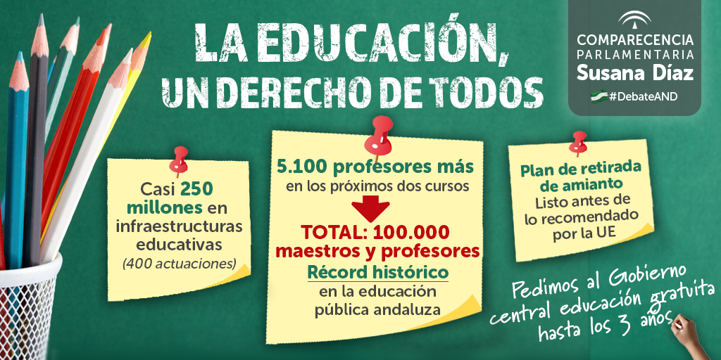 Ampliación de las plantillas docentes en 5.100 plazas en los dos próximos cursos por la aplicación de las nuevas jornadas lectivas.