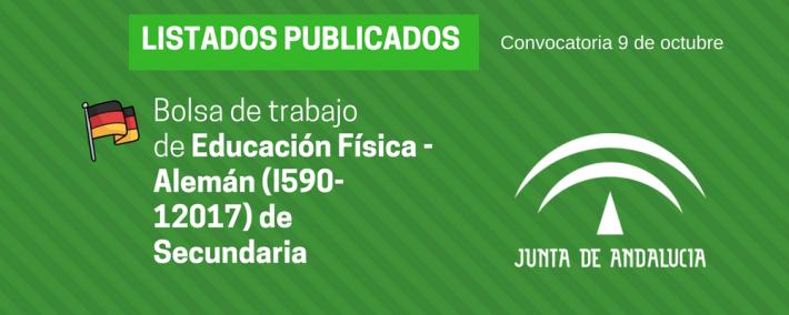 Andalucía: publicada lista provisional bolsa de trabajo de 9 de octubre - Educación Física - Alemán (I590-12017) - Academia Claustro