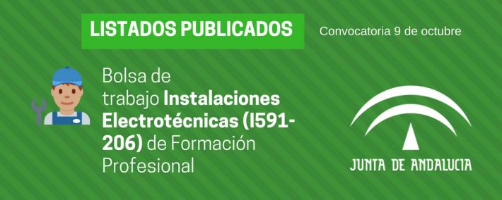 FP Instalaciones Electrotécnicas (I591-206): lista admitidos bolsa de trabajo de 9 de octubre (Andalucía) - Academia CLAUSTRO