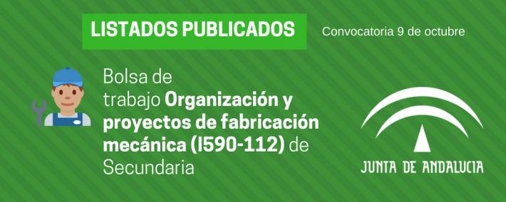 Organización y proyectos de fabricación mecánica (I590-112): lista admitidos bolsa de trabajo de 9 de octubre (Andalucía) - Academia CLAUSTRO
