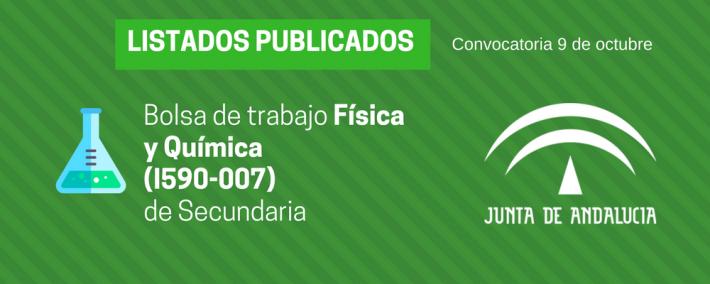 Física y Química (I590-007): lista admitidos bolsa de trabajo de 9 de octubre (Andalucía) - Academia CLAUSTRO