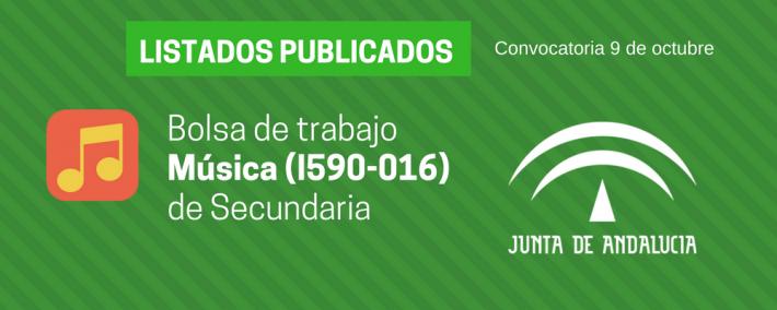 Música (I590-016): lista admitidos bolsa de trabajo de 9 de octubre (Andalucía) - Academia CLAUSTRO