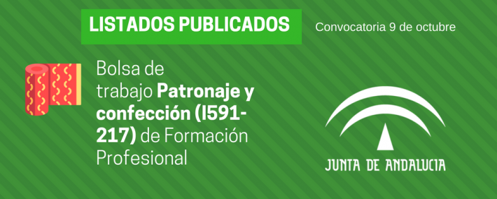 FP Patronaje y confección (I591-217): lista admitidos bolsa de trabajo de 9 de octubre (Andalucía) - Academia CLAUSTRO