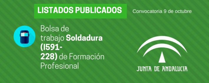 FP Soldadura (I591-228): lista admitidos bolsa de trabajo de 9 de octubre (Andalucía)