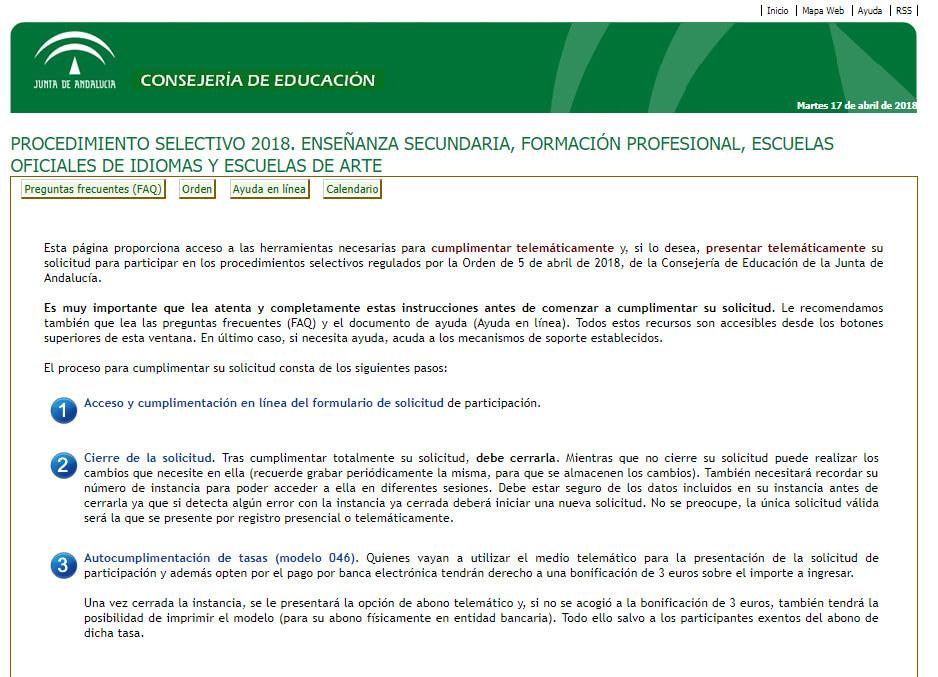 PROCEDIMIENTO SELECTIVO 2018. ENSEÑANZA SECUNDARIA, FORMACIÓN PROFESIONAL Y ESCUELAS OFICIALES DE IDIOMAS