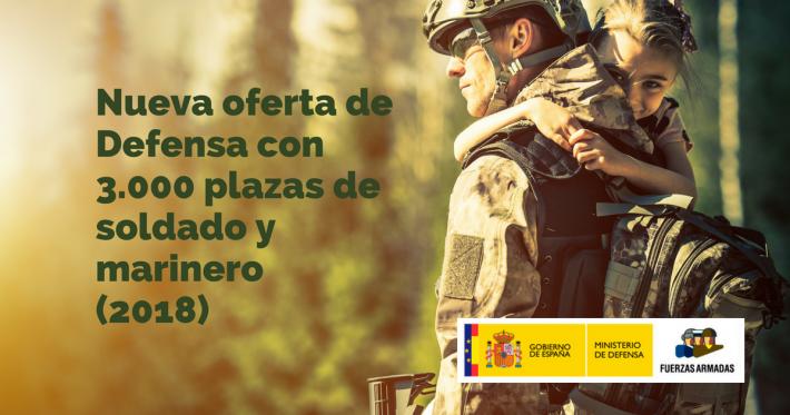 Nueva oferta de Defensa con 3.000 plazas de soldado y marinero (2018) - Academia CLAUSTRO