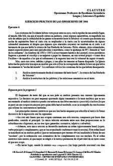 Ejercicio práctico resuelto de la especialidad de Lengua y Literatura (oposiciones de Secundaria de 2004)