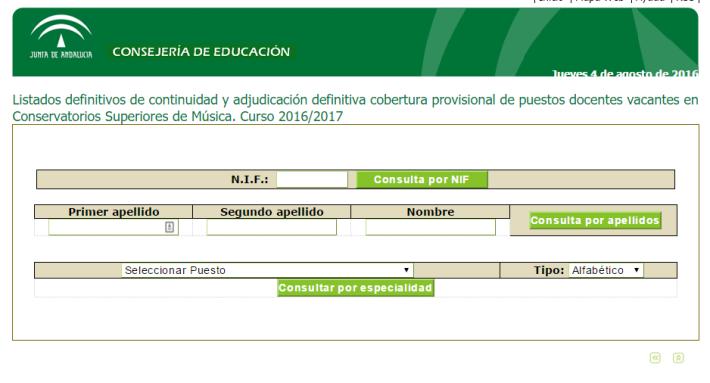 Listados definitivos de continuidad y adjudicación definitiva cobertura provisional de puestos docentes vacantes en Conservatorios Superiores de Música. Curso 2016/2017