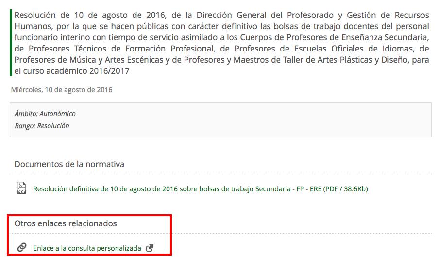 Resolución definitiva del tiempo de servicio de las bolsas de trabajo de Secundaria, FP y ERE