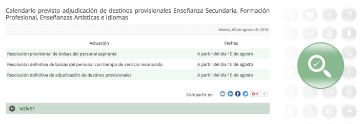 Calendario previsto adjudicación de destinos provisionales Enseñanza Secundaria, Formación Profesional, Enseñanzas Artísticas e Idiomas