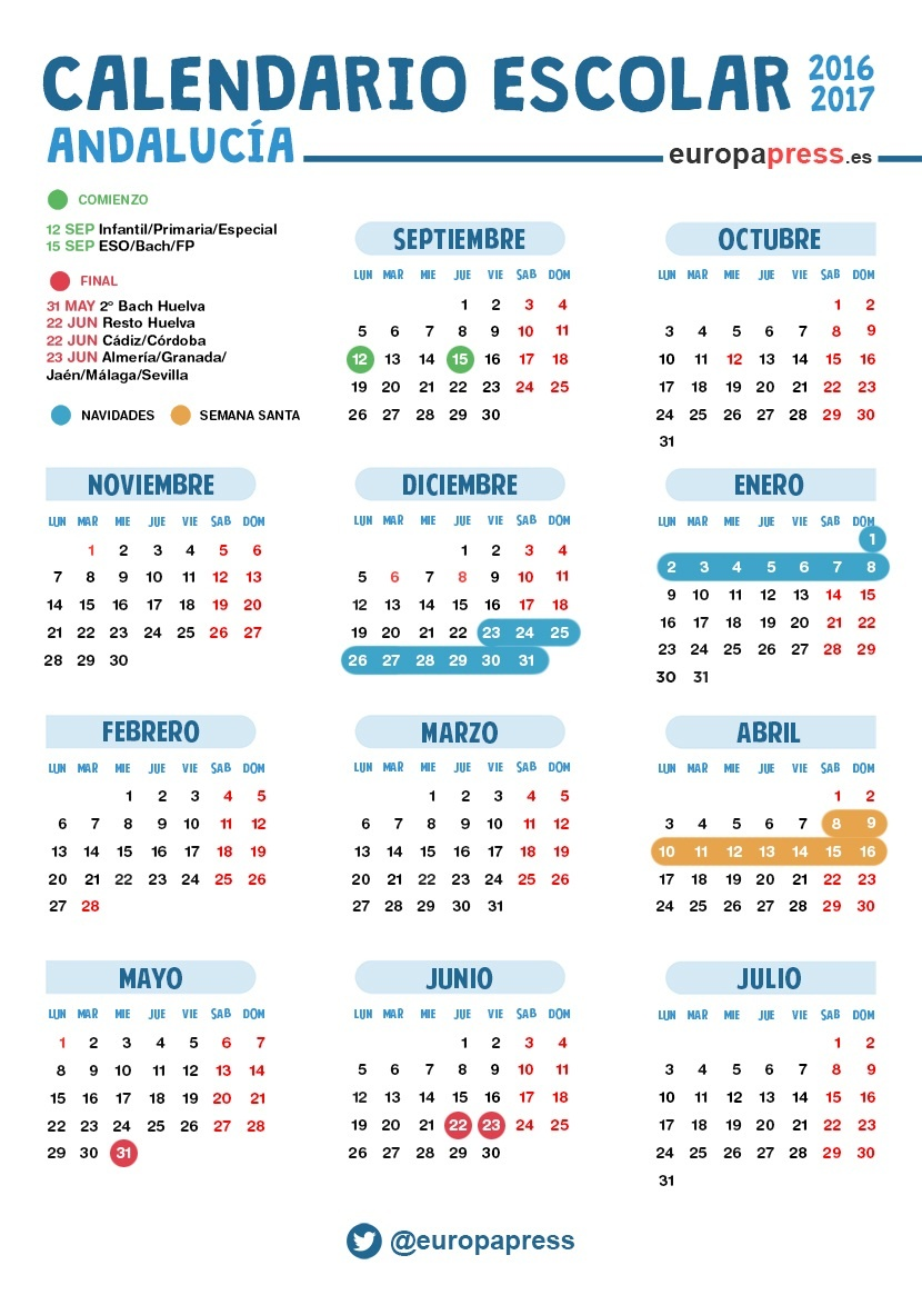 Calendario escolar Andalucía 2016-2017