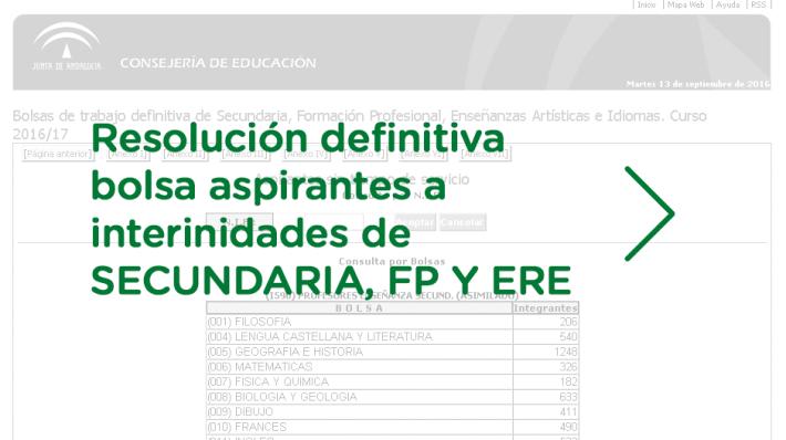 Resolución definitiva bolsa aspirantes a interinidades de Secundaria, FP y ERE