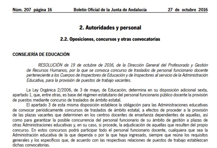 Concurso de traslados de inspectores de educación (Andalucía)