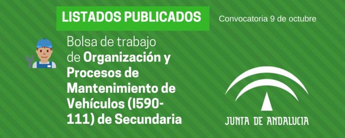 Andalucía: publicada lista provisional bolsa de trabajo de 9 de octubre - Organización y Procesos de Mantenimiento de Vehículos (I590-111) - Academia Claustro