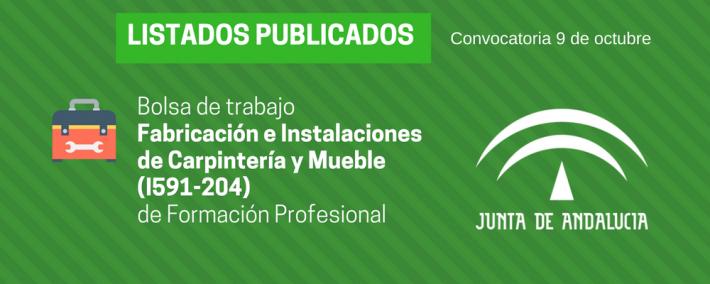 FP Fabricación e Instalaciones de Carpintería y Mueble (I591-204): lista admitidos bolsa de trabajo de 9 de octubre (Andalucía) - Academia CLAUSTRO