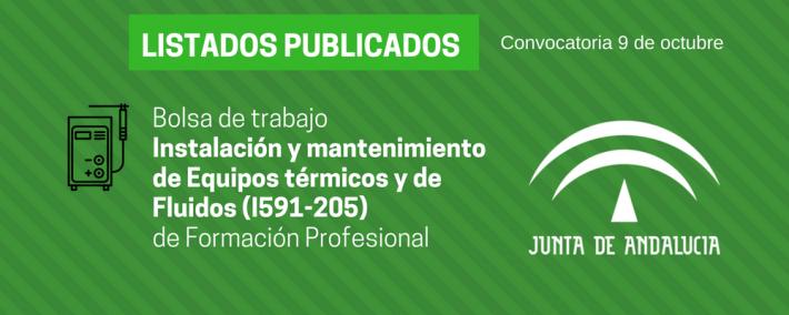 FP Instalación y mantenimiento de Equipos térmicos y de Fluidos (I591-205): lista admitidos bolsa de trabajo de 9 de octubre (Andalucía) - Academia CLAUSTRO