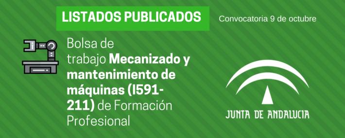 FP Mecanizado y mantenimiento de máquinas (I591-211): lista admitidos bolsa de trabajo de 9 de octubre (Andalucía) - Academia CLAUSTRO