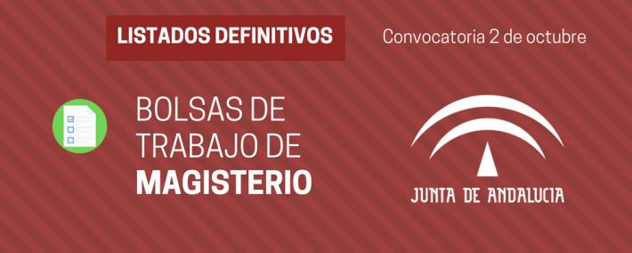 Andalucía: publicadas listas definitivas de las bolsas de trabajo extraordinarias (convocatoria 2 de octubre 2017) - Academia CLAUSTRO