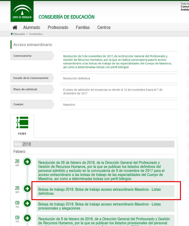 Listados bolsa de trabajo Maestros (convocatoria 9 de noviembre 2017, Andalucía) - Academia CLAUSTRO