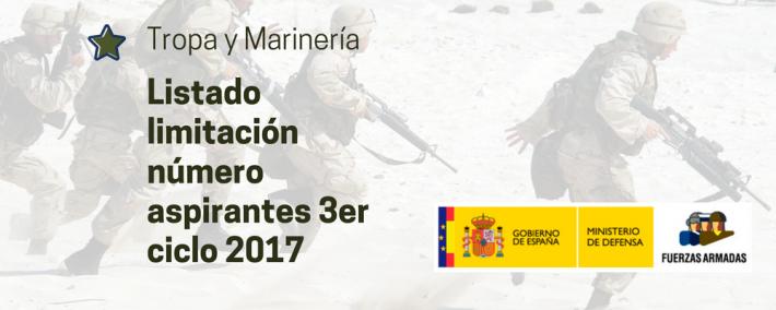 Tropa y Marinería: Limitación del número de aspirantes del tercer ciclo del 2017 - Academia CLAUSTRO