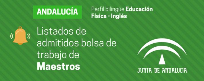 Listados provisionales bolsa de trabajo de Maestros perfil bilingüe Educación Física - Inglés - Academia CLAUSTRO