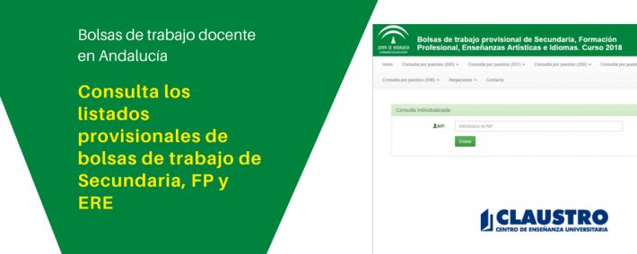 Publicados listados provisionales de bolsas de trabajo de Secundaria, FP y ERE - Academia CLAUSTRO Sevilla