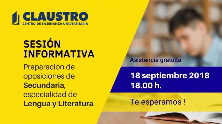 📌 Sesión informativa sobre la preparación de oposiciones de Secundaria, especialidad de Lengua y Literatura.
