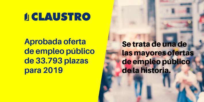 Aprobadas 33.793 plazas para 2019, la mayor oferta de empleo público de los últimos 11 años