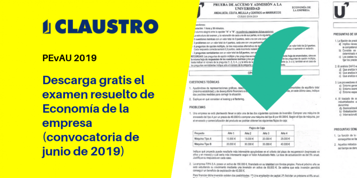 Selectividad: examen resuelto de Economía de la empresa (convocatoria de junio de 2019, Andalucía)