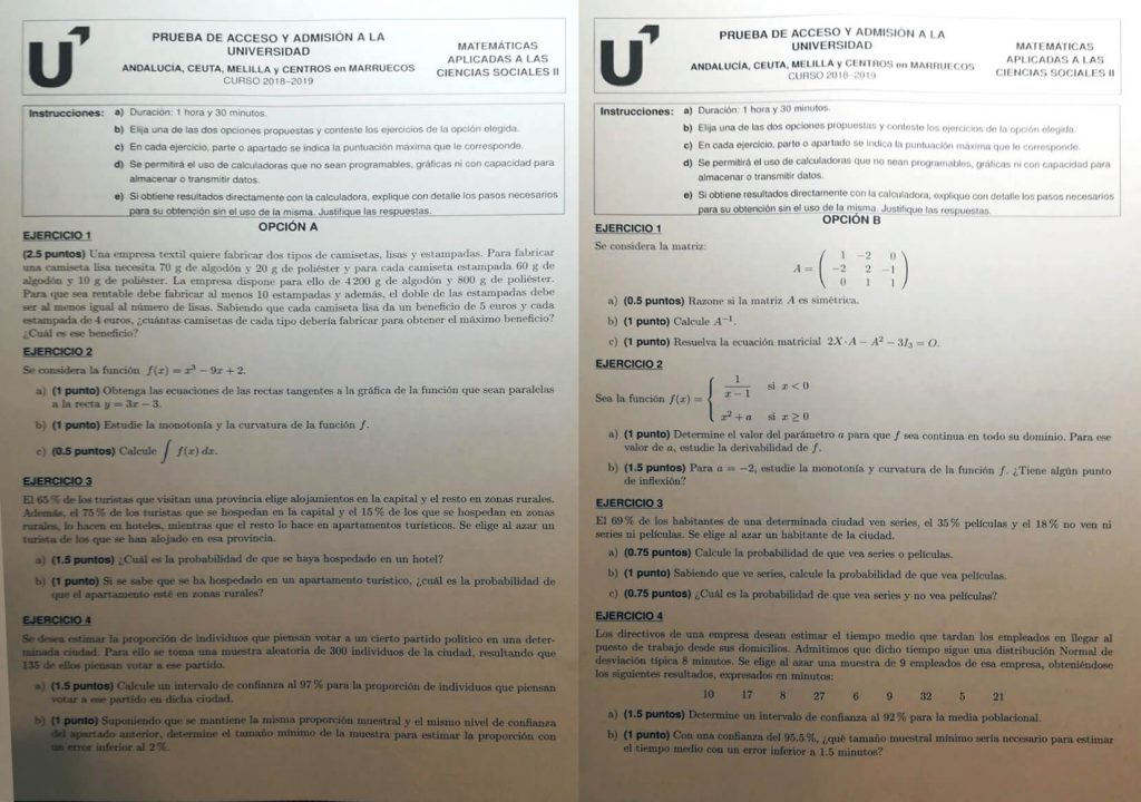 Examen de Matemáticas aplicadas a las Ciencias Sociales II (convocatoria de junio de 2019, Andalucía)