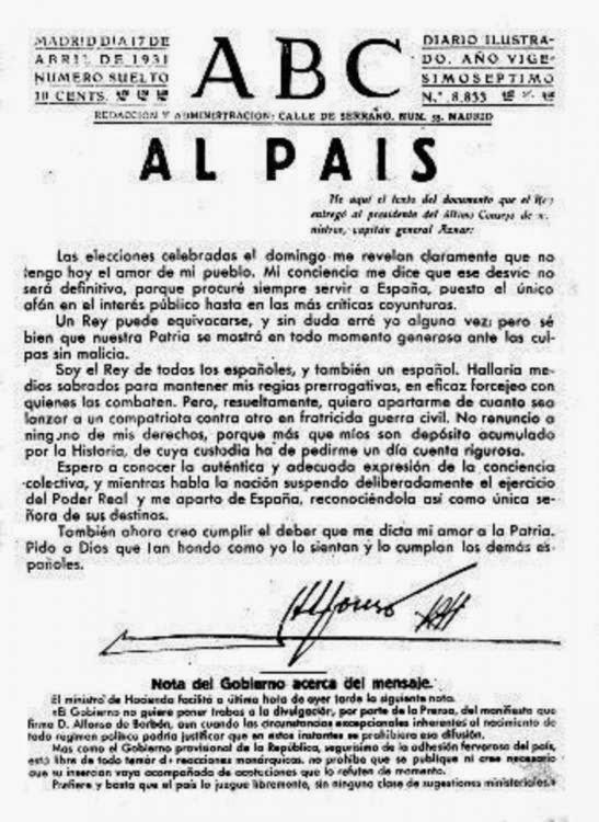 Alfonso XIII se despide del país