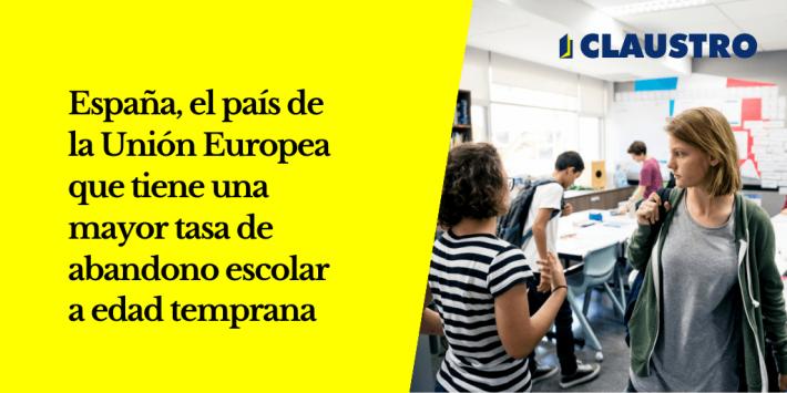 España es el país de la Unión Europea que tiene una mayor tasa de abandono escolar a edad temprana: el porcentaje de jóvenes de 18 a 24 años que como mucho terminó la Educación Secundaria Obligatoria (ESO) y no está estudiando.